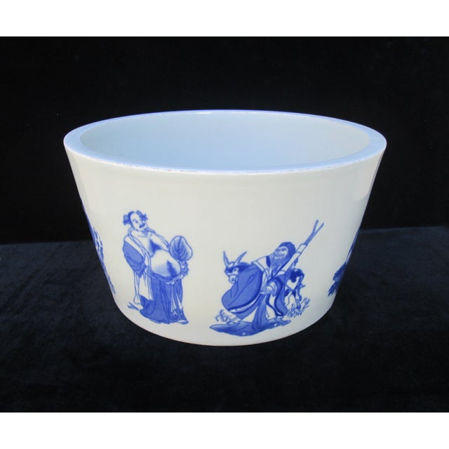 Chinese Blue & White Porcelain 8 Immortal Pot/Bowl - Image 3 of 7