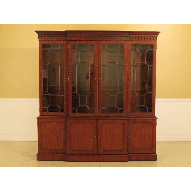 Maitland Smith Large Mahogany Breakfront Bookcase Cabinet For Sale - Image 13 of 13
