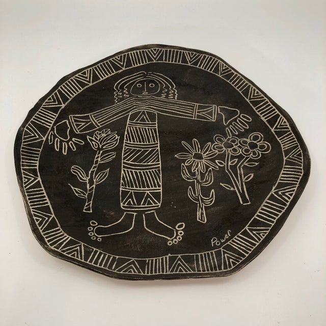 Slab Pottery Plate With Sgraffito Earth Mother and Flowers For Sale - Image 9 of 13