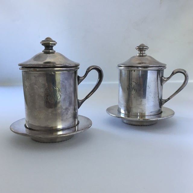 French French Silverware Egoist Tea Cup Filter Set, 1850 For Sale - Image 3 of 11
