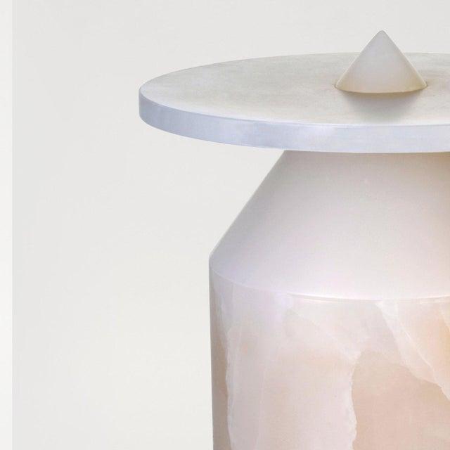 Modern Coffee Table in White Onyx, by Karen Chekerdjian For Sale - Image 4 of 7
