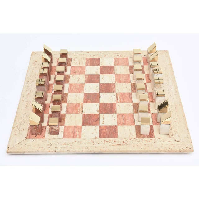 1960s Italian Vintage Travertine and Brass Modernist Chess Set For Sale - Image 5 of 10