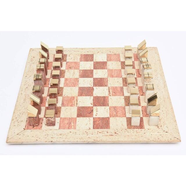 Italian Vintage Travertine and Brass Modernist Chess Set - Image 5 of 10