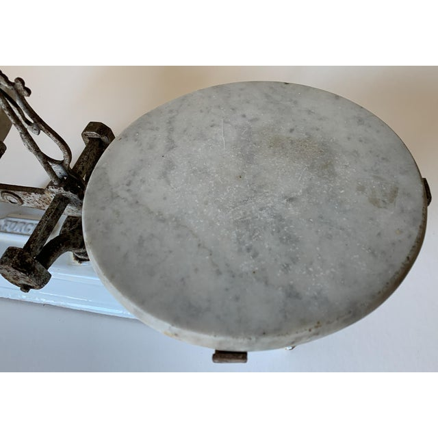 Antique 1920s Iron and Marble Balance Scale For Sale - Image 4 of 10