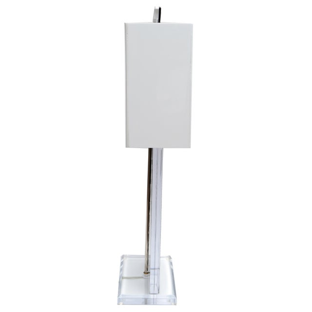 Contemporary Unique Cities Lucite Table Lamp with Acrylic Shade For Sale - Image 3 of 8