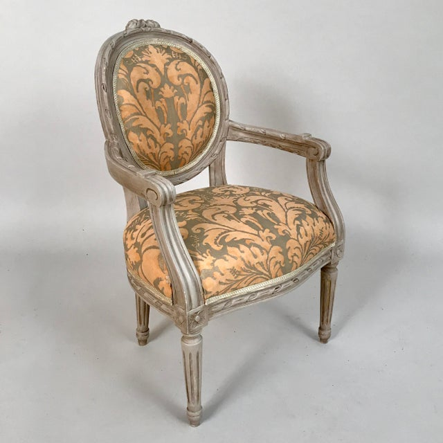 French 1940s French Louis XVI Style Child's or Doll's Armchair Attributed to Maison Jansen For Sale - Image 3 of 8