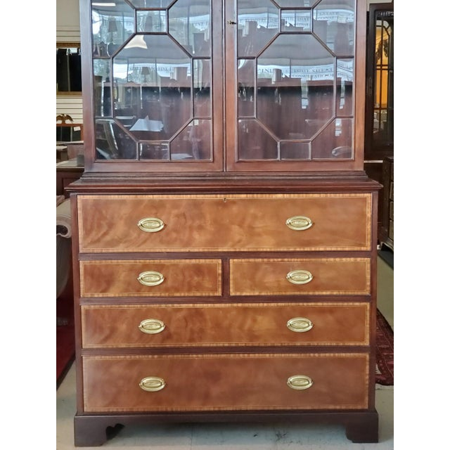 Baker Mahogany Collector's Edition Bookcase Secretary For Sale - Image 9 of 11