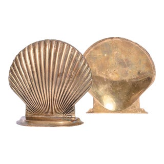 Pair of Brass Shell Bookends For Sale