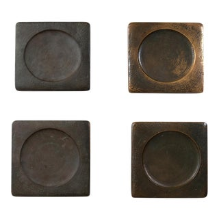 1960s Mid Century Solid BronzeScale Door Handles - Set of 4 For Sale