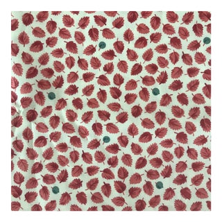 Red Tea Leaves Cotton Fabric Remnant For Sale