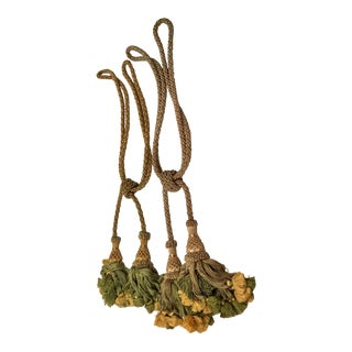 Vintage Belgian Green and Gold Tassel Tiebacks - a Pair For Sale