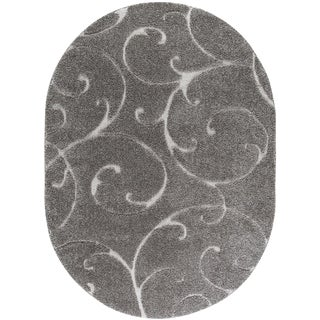 "Berkshire Shag Scrollwork Gray Oval Transitional Area Rug - 6'7"" x 9'6"""