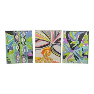 Set of 3- Vintage Emilo Pucci Silk Fabric Framed Wall Art For Sale