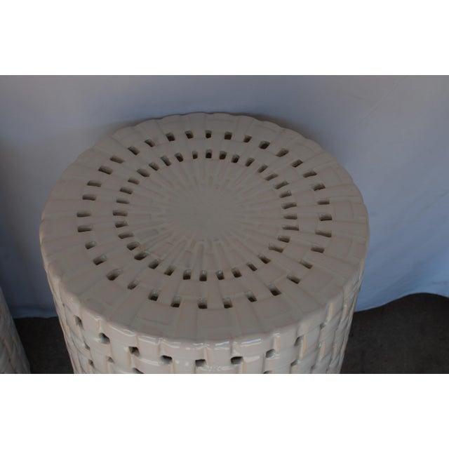 Hollywood Regency 1980s Hollywood Regency Basketweave Ceramic Garden Stools - a Pair For Sale - Image 3 of 5