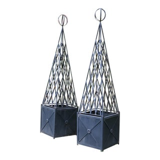 1980s Neoclassical Style Obelisk Planters Iron Garden Planters - a Pair For Sale