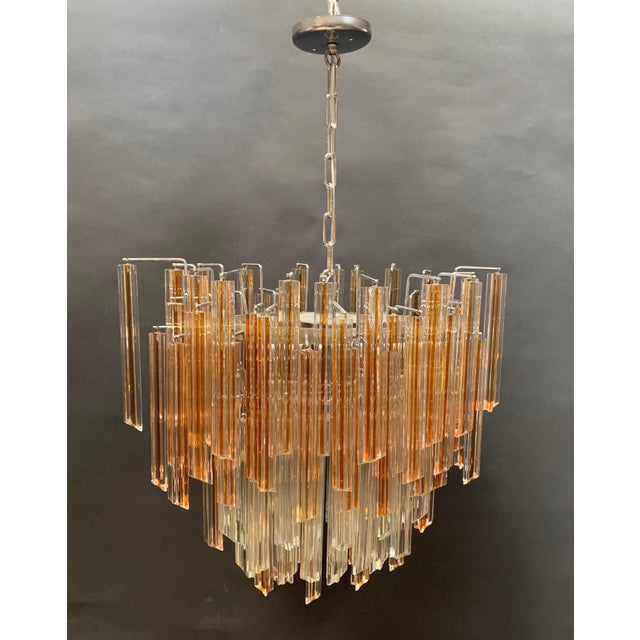 Glass Vintage 1970s Venini Murano Glass Chandelier For Sale - Image 7 of 12