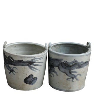 Chinese Blue & White Porcelain Dragon Planters - a Pair