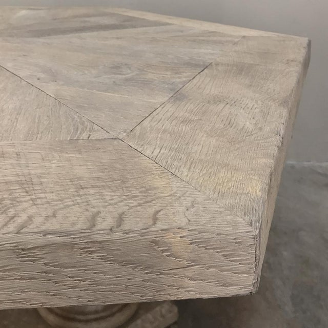 Mid-Century Neoclassical Limestone and Oak Center Table For Sale - Image 11 of 13