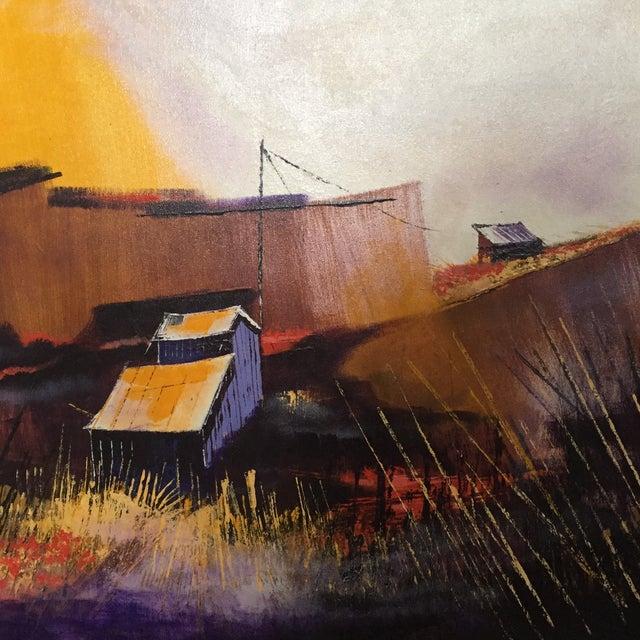 Vibrant Multi Color Mid-Century Modern Country Landscape Farm Barn Farmhouse Painting - Image 3 of 11