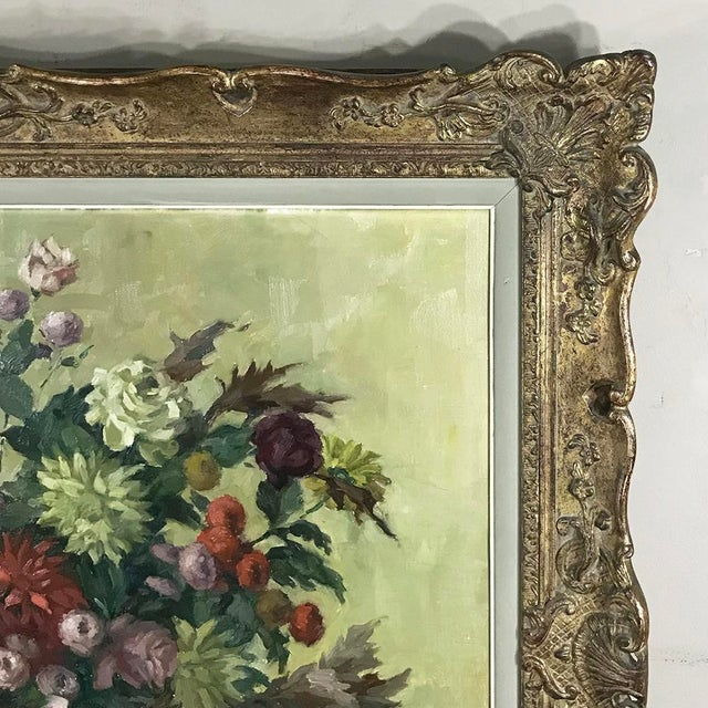 Antique Hand Painted Oil on Canvas by Marcel Van Cauter For Sale In Dallas - Image 6 of 12