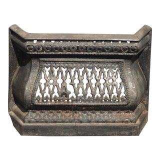 Antique French Country Cast Iron Black Fireplace Grill Grate For Sale