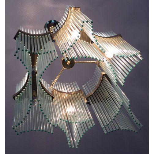 Lightolier Brass & Glass Sciolari Chandelier - Image 2 of 5