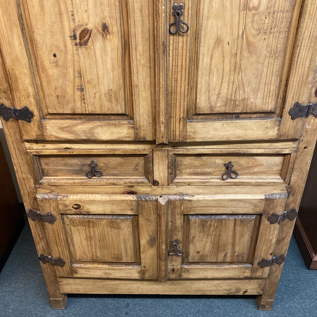 Late 20th Century Late 20th Century Rustic Pine Armoire For Sale - Image 5 of 13