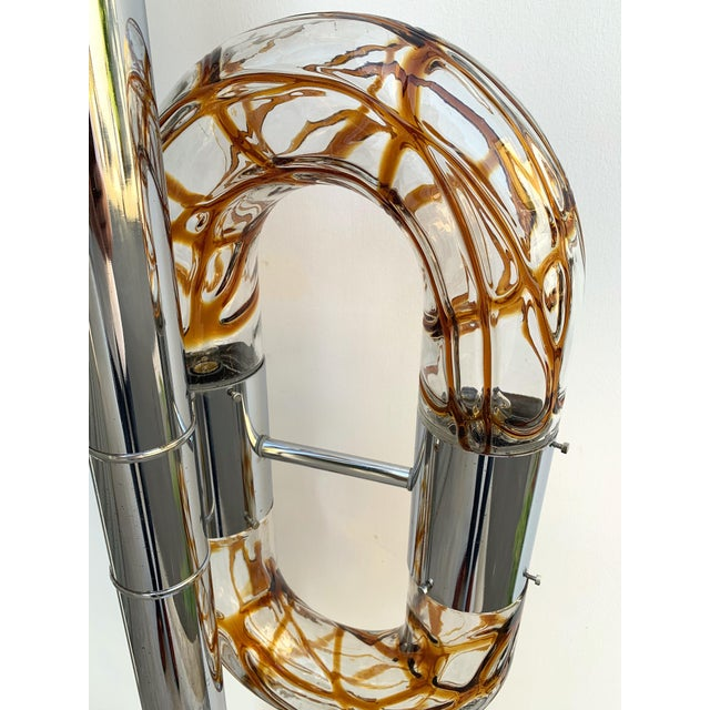 Floor Lamp Metal Chrome Murano Glass by Aldo Nason for Mazzega, Italy, 1970s For Sale - Image 12 of 13
