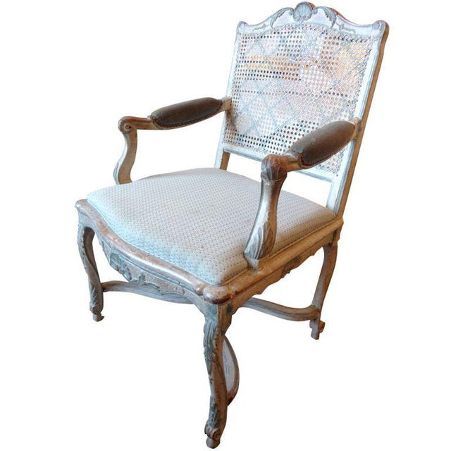 18th Century Painted Cane-Back Armchair For Sale - Image 11 of 11