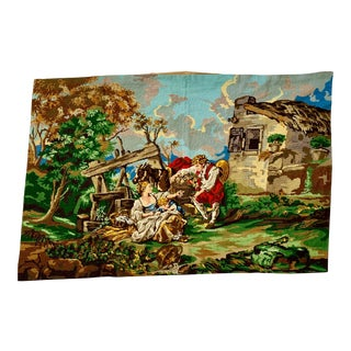 1940s Large Victorian French Renaissance Farmhouse Cottage Handmade Family on the Farm Gobelin Needlepoint Tapestry For Sale