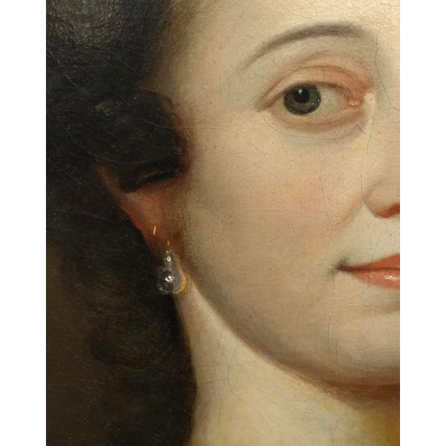 18th Century Portrait of an English Aristocratic Woman -Oil Painting For Sale In Los Angeles - Image 6 of 10