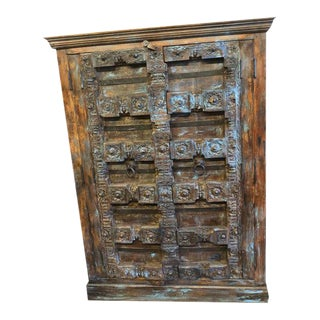 Antique Rustic Farmhouse Hand Carved Wardrobe Cabinet With Drawers For Sale