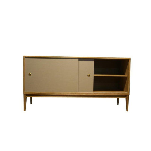 Customizable Bishop Lacquered Linen Door Console For Sale - Image 9 of 10