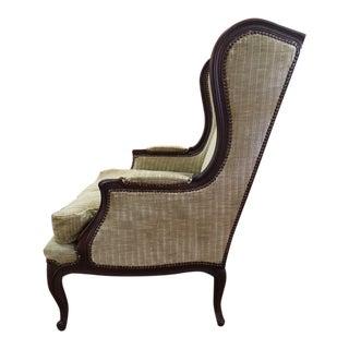 Baker Celedon Velvet Upholstered Walnut Wingback Chair For Sale
