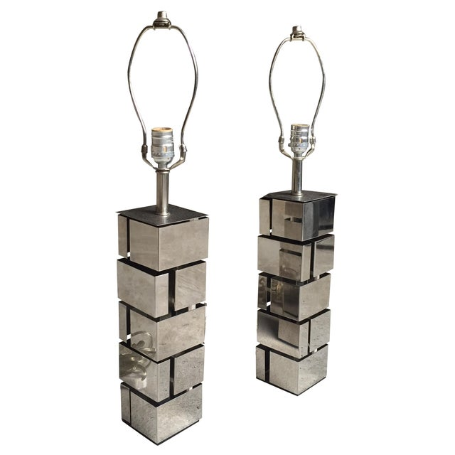 Laurel Lamp Co. Architectural Metal Lamps - A Pair - Image 1 of 6