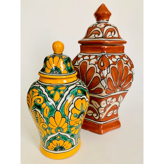 1970s Mexican Talavera Pottery Ginger Jar For Sale - Image 5 of 6