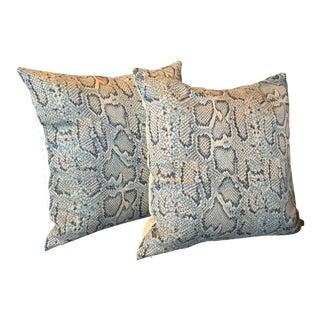 Blue Animal Print Pillows - A Pair For Sale