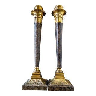 Vintage Textured Brass Candle Holders Column Candlesticks Gold Hollywood Regency - a Pair For Sale
