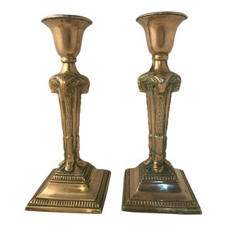 Vintage Brass Ram Head Candle Holders - a Pair For Sale