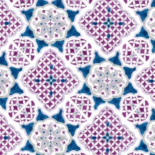 Ferran Ming Medallion Fabric, Sample, Sapphire in Linen/Cotton For Sale