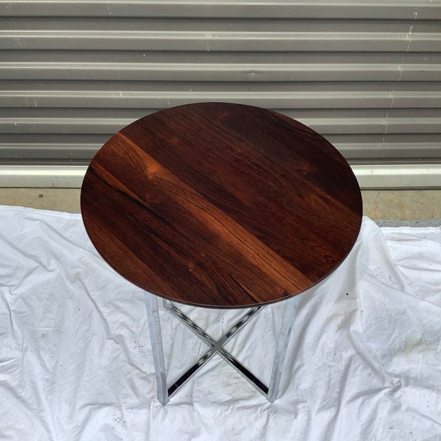 Mid-Century Modern Midcentury Modern Rosewood & Chrome Drinks Table For Sale - Image 3 of 11