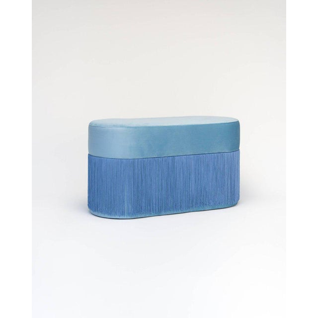 Pouf Pill Large Light Blue in Velvet Upholstery With Fringes For Sale In Miami - Image 6 of 6