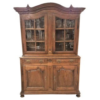 Circa 1760 French Provincial Oak Dresser Cabinet With Glass Doors and Shelving For Sale