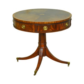 Hickory Chair Flame Mahogany Regency Style Inlaid Round Drum Table
