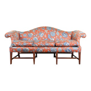 1990s Vintage Chippendale Style Camelback Sofa For Sale