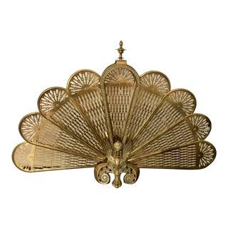 Antique Winged Griffin Brass Fan Firescreen For Sale