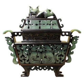Chinese Stone Carved Green Rectangular Dragon Pixiu Incense Burner Display cs2613 For Sale