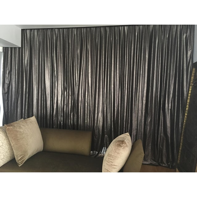 2010s Metallic Charcoal & Bronze Drapes - Set of 5 For Sale - Image 5 of 6