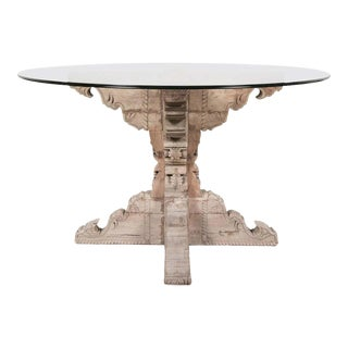 French Renaissance Style Carved Washed Chestnut Table Base With Round Glass Top For Sale