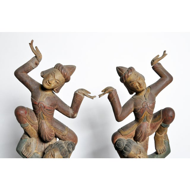 1980s Hand-Carved Thai Dancers For Sale - Image 5 of 11